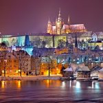 Prague Czech Winter night Cathedral St Vitus